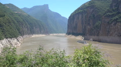 China travel, ferry sails through beautiful gorge on the Yangtze river Stock Footage