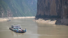 Yangtze river commute, ferry transports vehicles over waterway China Stock Footage