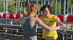 Jumping training together Stock Footage