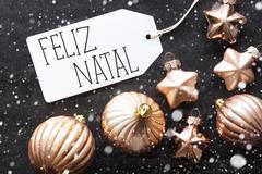 Bronze Balls, Snowflakes, Feliz Natal Means Merry Christmas Stock Photos