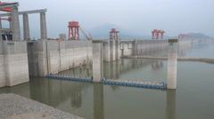 The Three Gorges Dam project, hydroelectric power station in China Stock Footage