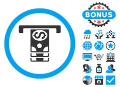 Banknotes Withdraw Flat Vector Icon with Bonus Stock Illustration