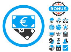 Banknotes Flat Vector Icon with Bonus Stock Illustration