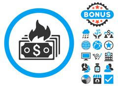 Burn Banknotes Flat Vector Icon with Bonus Stock Illustration