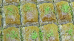 Turkish Ramadan Dessert Baklava Stock Footage