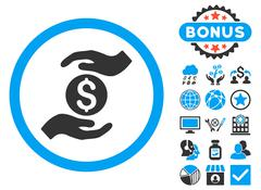 Business Insurance Hands Flat Vector Icon with Bonus Stock Illustration
