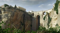 Panoramic view of the old city of Ronda, the famous white village Stock Footage