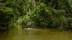 US Army Duck Amphibious Vehicle Touring Through the Kuranda Rainforest Stock Footage
