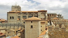 View of Avila cathedral from famous city walls Stock Footage