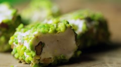 Turkish delight with pistachio rotating macro shot Stock Footage