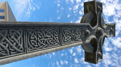 Stone Celtic Cross on the Aran Islands in Ireland Blue Sky  Stock Footage