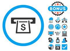 Cashout Slot Flat Vector Icon with Bonus Stock Illustration