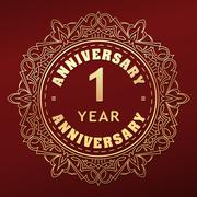 Vintage anniversary 1 year round emblem. Retro styled vector decor in gold to Stock Illustration