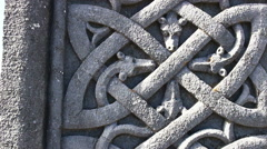 Stone Celtic Cross on Aran Islands Ireland Close Up on Stonework Stock Footage