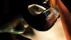 Close up of eye of man in mask looking on camera Stock Footage