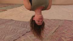 Yogi practice aerial anti gravity yoga on a hammock during Yoga Arava Stock Footage