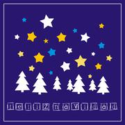 Christmas vector card with Merry Christmas wishes in espanol: Feliz Navidad Stock Illustration