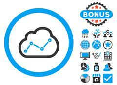 Cloud Analytics Flat Vector Icon with Bonus Piirros