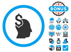 Commercial Intellect Flat Vector Icon with Bonus Stock Illustration