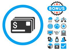 Credit Cards Flat Vector Icon with Bonus Piirros