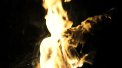 Bonfire flaming on black background. Slowly Stock Footage
