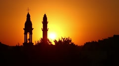 Minaret and bell tower together Stock Footage