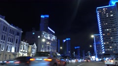 MOSCOW, RUSSIA - SEPTEMBER, 13. Expensive district of Novy Arbat street at night Stock Footage