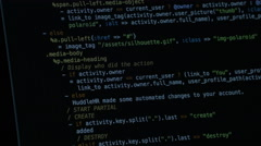 Programming code on the computer screen Stock Footage