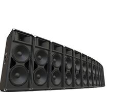 Big concert horn loudspeakers in a semi circle row Stock Illustration