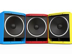 Red, BLue and Yellow woofer speakers Stock Illustration