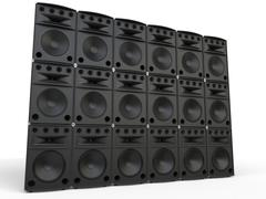 Wall of full range loudspeakers - studio shot Stock Illustration