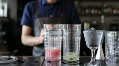The bartender makes lemonade at a restaurant. The whole process from start to Stock Footage