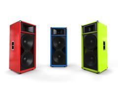 Red, green and blue hifi speakers - studio shot Stock Illustration