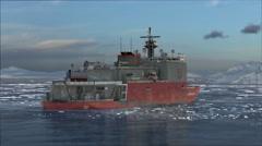 Animation of icebreaker ship sailing in frozen sea in Antarctica Stock Footage