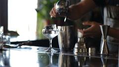 The bartender presses lemon juice cocktail Stock Footage