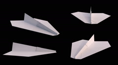 Paper planes animation loop 4 variations with alpha matte Stock Footage