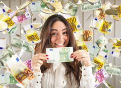 Unexpected winning of money Stock Photos