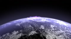 Satellite view of animated explosion on planet earth Stock Footage
