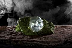 Crystal Skull on Smoky Dark Setting Stock Photos
