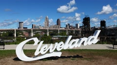 4K UltraHD Timelapse of Cleveland lettering in front of city center Stock Footage