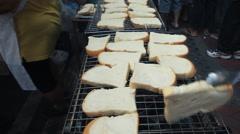 Chef Preparing Toast Bread. Stock Footage