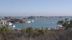 View of bay with sandy residential penisula to the pacific ocean busy PCH Stock Footage
