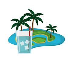 Tropical island and glass of water icon Piirros