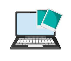 Laptop and  instant photograph icon Stock Illustration