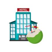 Hotel and  coconut cocktail icon Stock Illustration