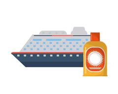Cruise ship and sun block icon Stock Illustration