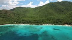 Aerial view of Maho Bay, St John, United States Virgin Islands  Stock Footage