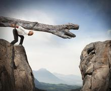 Overcoming an obstacle with a solution Stock Photos