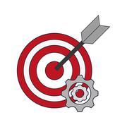 Bullseye and gears icon Stock Illustration