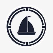 Sail boat emblem image Stock Illustration